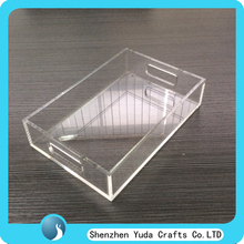 Clear acrylic square serving tray/lucite plexiglass food tray/perspex household tray