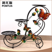 Specialized design handmade iron three tiers flower holder party decorations