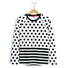 Fashion New Style Spot Printed Striped Hem T Shirt With Long Sleeve