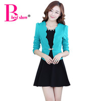 Women Korean Two Sets Dress 2015 Autumn And Winter Beaded Bow New Elegant Office Lady Plus Size Long Sleeve Dress 2775