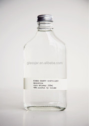200ml clear and high quality glass flask whiskey bottle with aluminum cap