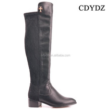 CDYDZ R1331-55960 Matte black stitching thick heel knee high side zipper flat shoes boots for Women