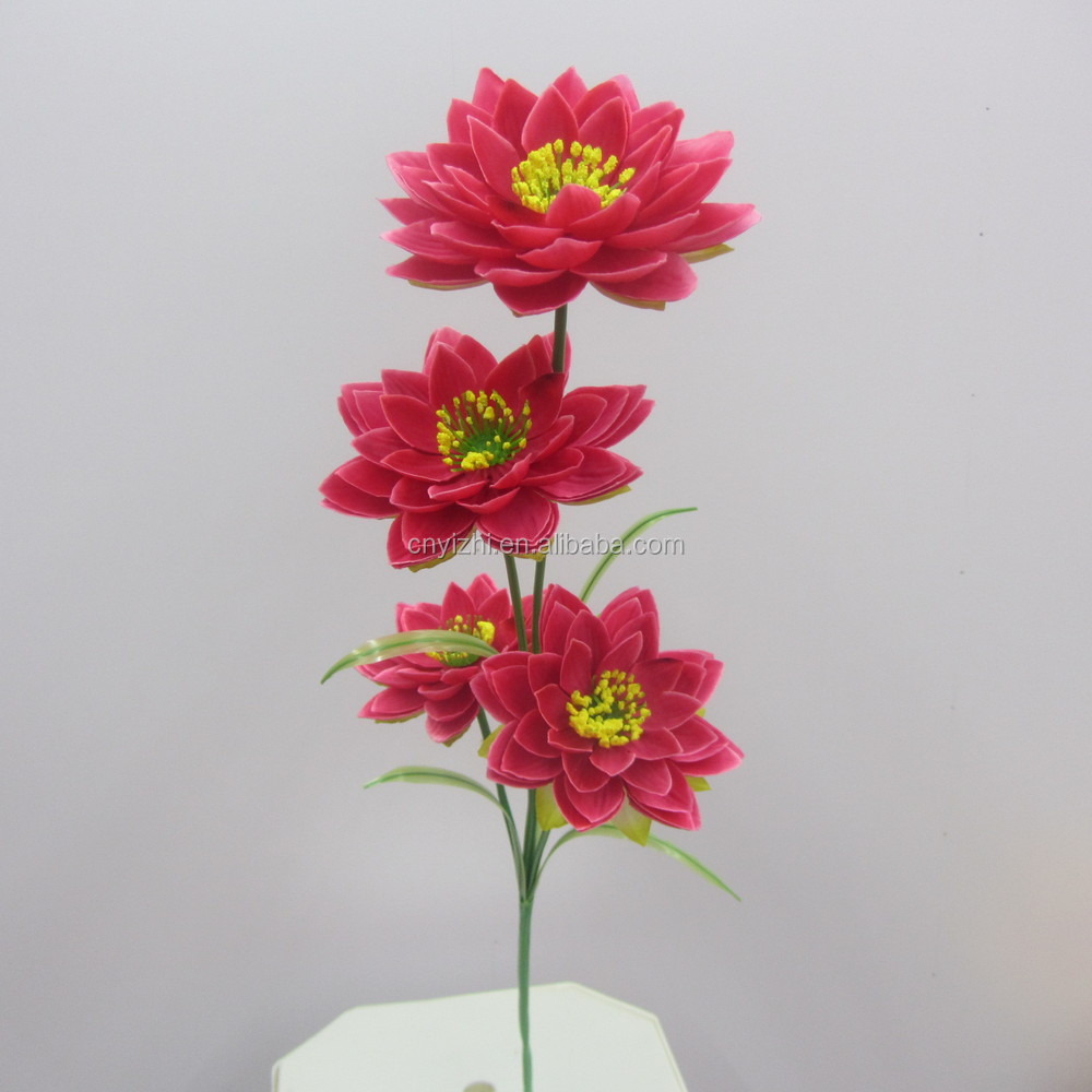 Red artificial lotus flower real touch plastic lotus bouquet water yzb00035g izmirmasajfo