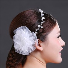MYLOVE 2015 Wholesale Bridal Flower Hair Accessories pearl and fabric accessory MLF082