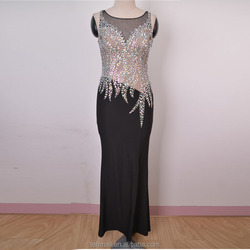 luxury crystal prom dress, sleeveless organza beaded crystals dress