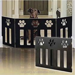Pet-Gate-Paw-Print-Dog-Puppy-Fence-Barrier-Indoor-Door-Folding-Pen-Wood-Portable Pet-Gate-Paw-Print-Dog-Puppy-Fence-Barrier-In