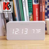 Online wholesale desktop LED display wooden funny alarm clock