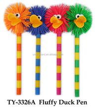 Hot Sales Plastic Ball Pen Fluffy Duck Pen