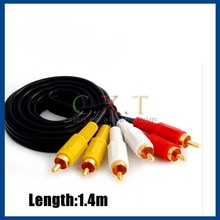 High Performance 1.4m Top Range 3 RCA to 3 RCA Audio Video AV Cable
