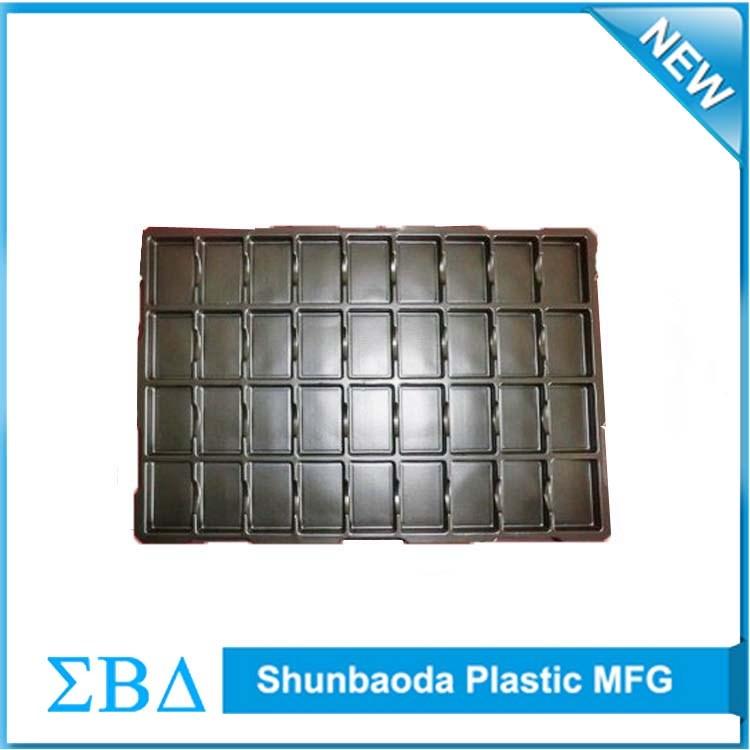 Custom high quality black plastic PCBURM vacuum formed tray, antistatic ESD tray.jpg