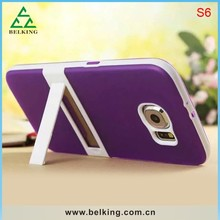 Hybrid Mix Colors Phone Case For Samsung S6, TPU Soft Cover For Samsung S6 Plastic Stander Case