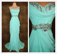 Real Sample A-line Sweethear Sleeveless Turquoise Green Chiffon Maxi Dress Wholesale Crystals Beaded Evening Dresses with Pleats