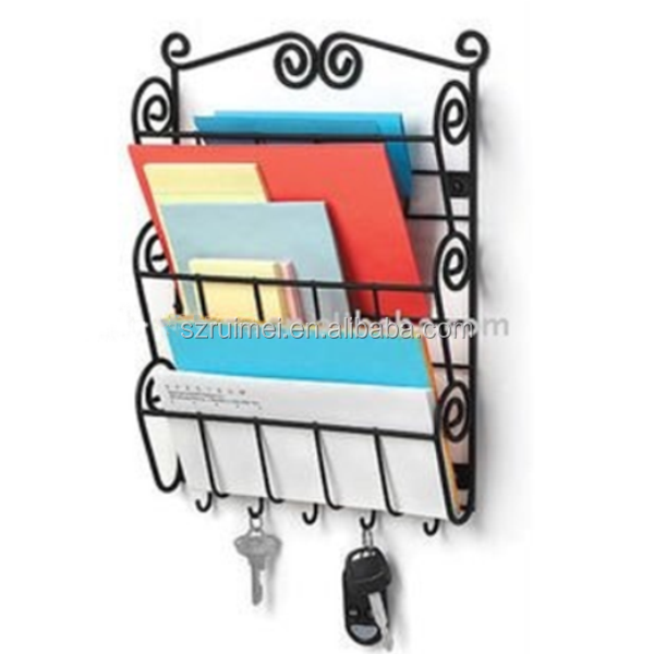 Wall Mounted 3 Tier Metal Wire Letter Rack And Hanging Key Holder Buy Letter Rack And Key