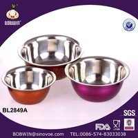 High Quality 3PCS Set Stainless Steel Bowl With 3 Color