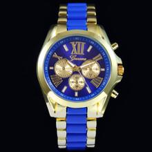 Mens Trendy Geneva Stainless Steel Roman ceramic watch gold