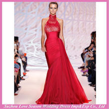 HE9421 New design with great price halter neckline red heavy crystals top ruched chiffon long cocktail bling evening dresses