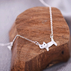 s925 fashion jewelry, the story of cat and fish cute necklace pendant