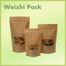 stand up natural brown kraft paper bag with zipper and window for food