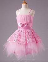 2014 New Arrival Spaghetti Strap Mini Organza Appliqued Children Girl Latin Dance Dress