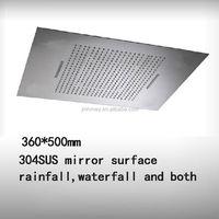 New design 2 function rainfall waterfall 500*360mm rectangular led ceiling shower head