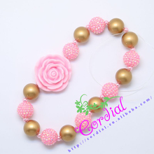 Fashionable Jewelry Yiwu Cordial Design Bubblegum God Beads And Pink Pearl Resin Flower Necklaces Jewelry