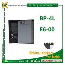 li-ion battery 3.7v 1500mah BP-4L battery For Nokia mobile free 6650/6760S/6790/E52