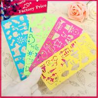 china stationery market folding multi-function pvc plastic pattern drawing ruler for kids