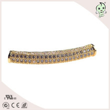 Micro-pave Setting Sterling Silver Long Curved Tube Beads