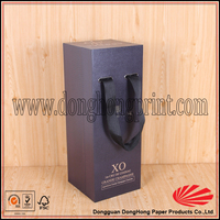High quality cardboard dimension of carton wine box with handle