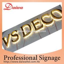 Decoración taller con luz de fondo LED letras de acero inoxidable signo