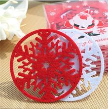 Alibaba cheapest !!! red Christmas felt snowflake coasters new for 2015