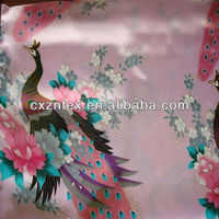 Peacock design print fabric wholesale/polyester printed satin fabric