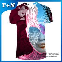 custom made full printing dye sublimation t-shirt printing