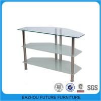 2015 economic new modern design cheap glass stainless steel tv stand