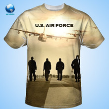 2015 Air Force Sublimation Poly Adult Shirt& Popular cotton sublimation t-shirt design& strong people printed 3d t-shirt