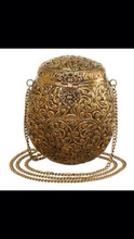 Beautiful crafted handmade golden antique brass metal clutch evening bag