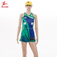 New coming custom Sky blue netball dress top singlet trainning style for girl