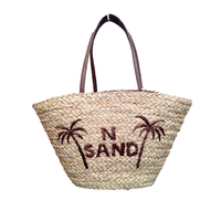 Wholesale wheat straw beach bag,handmade customers' words on the bags
