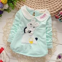 DG008 Wholesale Doll Collar Long Sleeve Cotton Korean Fashion Children Clothes Rabbit Kids T-shirts