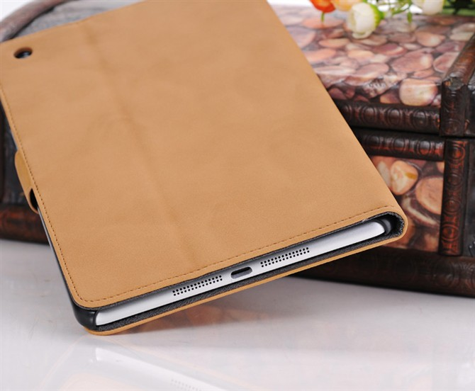 2014 new retro standing book style leather case for mini ipad