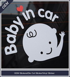Custom laser die cut vinyl stickers with clear masking for car