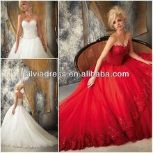 bola cg045 sin tirantes vestido de corsé de encaje de tren capilla rojo vestidos de novia