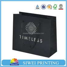 2015 Custom Printed Recycle big black card paper carrier bag for shopping