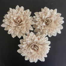 daisy burlap flower,decorative burlap flower for wedding,vintage wedding flower decoratoin