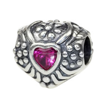 Wholesale Dark Pink Zircon Heart Antique 925 Sterling Silver Bead Charm for European Bracelet C469
