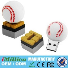 custom moulded baseball shape usb with logo raised baseball seams (red) and raised logo