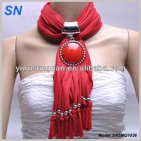 Gemstone Pendant Necklace Slide Scarf