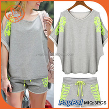 2 piece set women shorts and tops print bat sleeve sports suit for women tracksuit casual polyester cotton summer clothing
