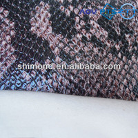 2015 New Black Snake Skin Design 100% PVC Leather For Bag