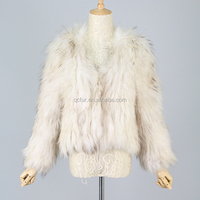 QC3125 -10 white 2015 women new collection natural kintted raccoon dog fur jacket/coat with lining